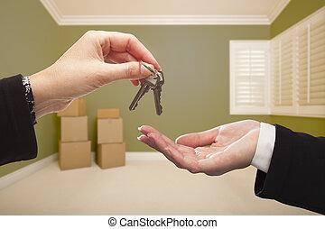 kezelő, nő, szoba, kulcsok, épület, felett, zöld, belső, üres