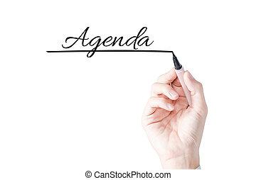 kezezés írás, napirend, noha, kék, könyvjelző, képben látható, áttetsző, bizottság