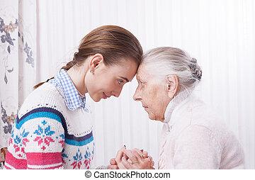 kezezés., öregedő, birtok, otthon, concept., törődik