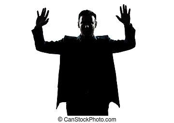 kezezés feláll, portré, ember, árnykép