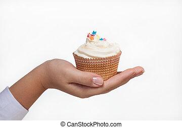 kezezés kitart, egy, cupcake, elszigetelt, white