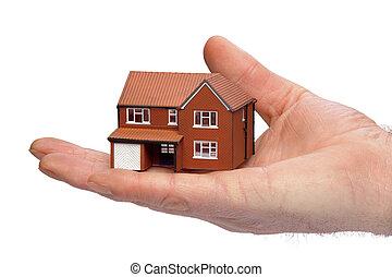 kezezés kitart, egy, kisméretű, épület