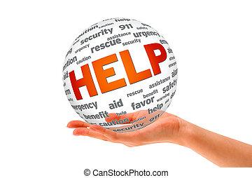 kezezés kitart, egy, segítség, 3, gömb