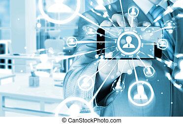kezezés kitart, egy, telefon, előadás, a, társadalmi, hálózat