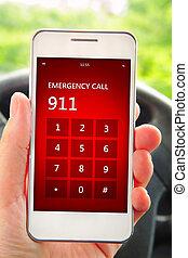 kezezés kitart, mobile telefon, noha, szükséghelyzet, szám, 911