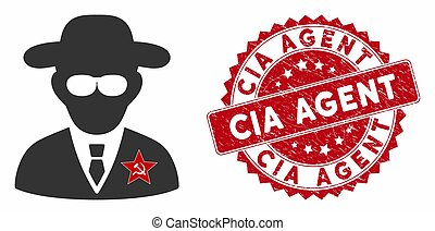 KGB Spy Icon with Scratched CIA Agent Stamp