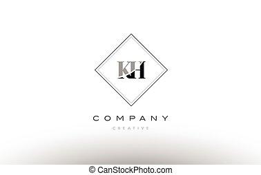 H Retro Vintage Black White Alphabet Letter Logo H Retro Vintage
