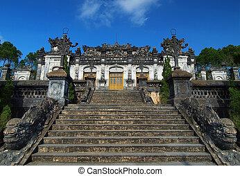 khai, ユネスコ, dinh, 色合い, サイト。, 相続財産, 世界, 墓, vietnam.