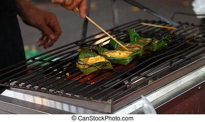 Khai-Pam : THAI STREET FOOD.Khai Pam -Grilled Egg in Banana...