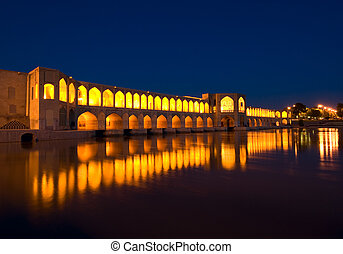 Khajoo bridge over Zayandeh river, Isfahan, Iran