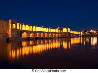khajoo, ponte, sobre, zayandeh, rio, isfahan, irã