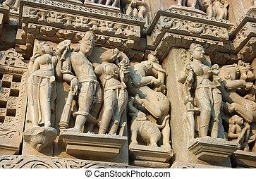 khajuraho, inde, détail, madhya, vishnavath, pradesh, temple