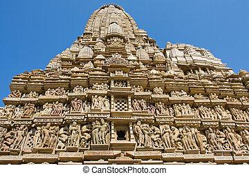 khajuraho, pierre, inde, madhya, découpé, temple, pradesh
