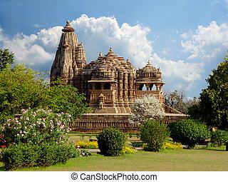 khajuraho, temple., indien