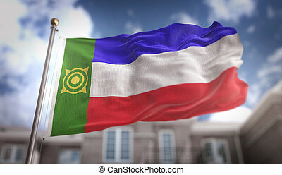 Khakassia Flag 3D Rendering on Blue Sky Building Background
