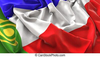 Khakassia Flag Ruffled Beautifully Waving Macro Close-Up ...