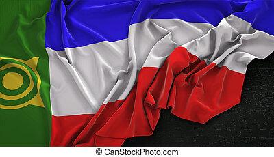 Khakassia Flag Wrinkled On Dark Background 3D Render