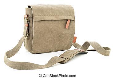 Khaki bag - Khaki textile sport-style travel bag on white