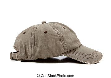 a khaki ball cap on a white background