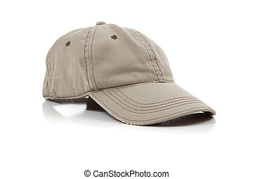 Khaki ball cap on white - a khaki ball cap on a white...