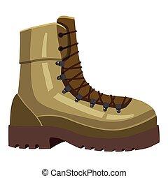 Khaki boot icon, cartoon style