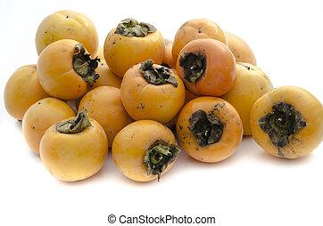 Khaki fruit - Bunch of khaki fruit isolated on white ...