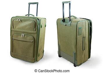 Khaki leather travel suitcase