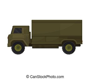 khakki, illustration, bakgrund., vektor, vit, truck.