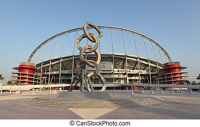 Khalifa International Stadium in Doha, Qatar. Photo taken at...