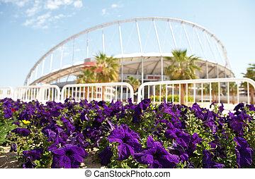 Khalifa Sports Stadium - Flowering flowers outside Khalifa...