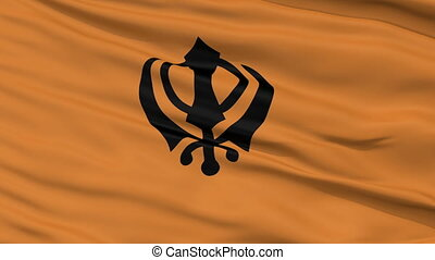 Khalistan Religious Close Up Waving Flag
