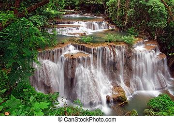 khamin, deszcz, huay, tropikalny, wodospad, wodospad, mae, las, raj, tajlandia