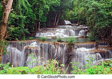 khamin, eső, huay, tropikus, vízesés, vízesés, mae, erdő,...