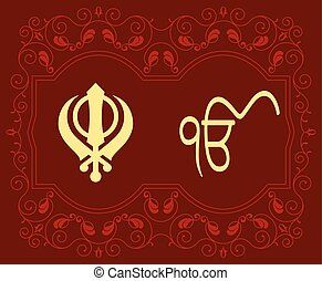khanda, motif, hellige, ek, onkar