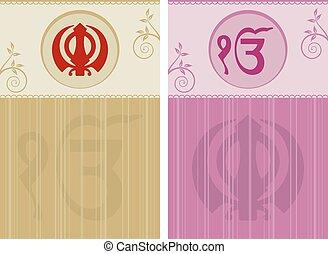 khanda, motivo, santissimo, ek, onkar