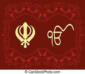 khanda, motivo, santo, ek, onkar