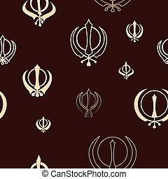 khanda, seamless, patrón