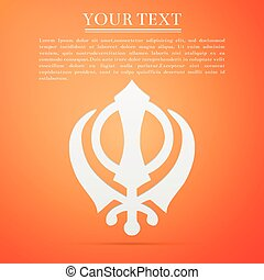 Khanda Sikh flat icon on orange background. Vector Illustration