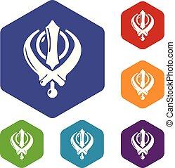 Khanda symbol sikhism religion icons vector hexahedron -...