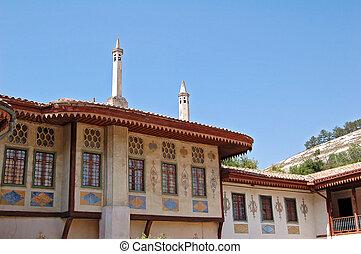 khan's, hansaray), bakhchisaray, épít, palota, város, azt, (crimea, ukraine)., (or, kilátás, volt, 16, century.