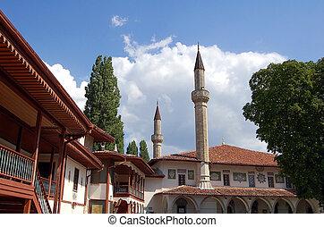 khan's, tartarian, palota, mecset, ősi, minaret