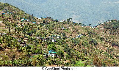 kharikhola, ヒマラヤ山脈, nepalese, 村, 山
