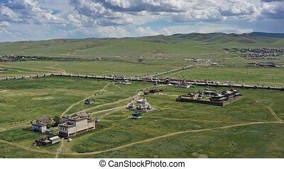 Aerial around view of the Kharkhorin Erdene Zuu Monastery in Kharkhorin (Karakorum), Mongolia. Karakorum was the capital of the Mongol Empire between 1235 and 1260, 4k