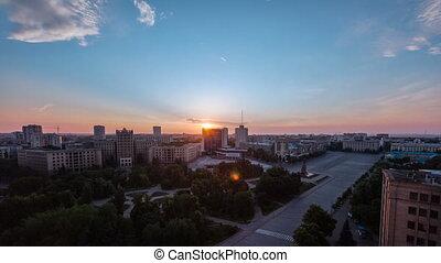 Kharkiv city from above at sunrise timelapse. Ukraine. -...