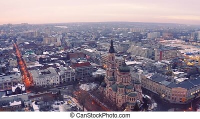 Kharkiv city from above. Aerial view of the Blagoveshchensky cathedral. Aerial view of city center at winter.