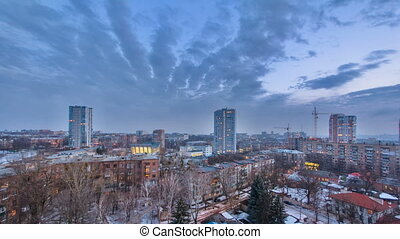 Kharkiv city from above day to night timelapse at winter....
