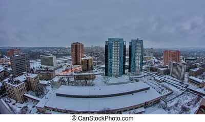 Kharkiv city from above day to night timelapse at winter. Ukraine.