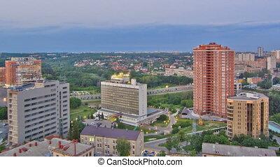 Kharkiv city from above day to night timelapse. Ukraine.