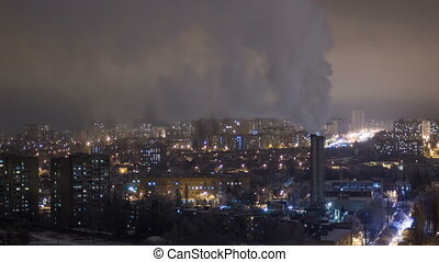 Kharkiv city from above night timelapse at winter. Ukraine.