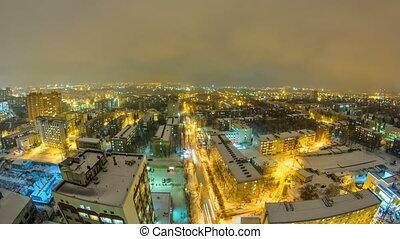 Kharkiv city from above night timelapse at winter. Ukraine....